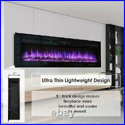 60 1500W Electric Fireplace Recessed / Wall Mount Insert Heater Multi Flames US