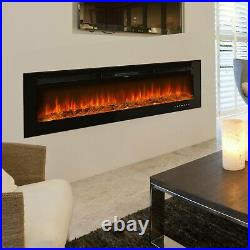60 Electric Fireplace Recessed Insert or Wall Mounted 1500W Electric Heater US
