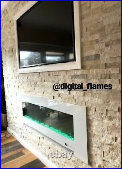 60 Inch Led Digital Flames Black Insert Wall Mounted Electric Fire 2021
