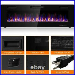 60 Recessed Ultra Thin Electric Fireplace Heater Remote & Multi Color Flame