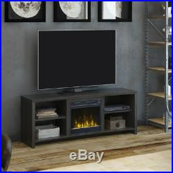 60' TV Stand With Fireplace Insert Electric Fake Black Energy Saver