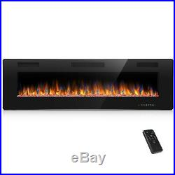 60 Ultra Thin Electric Fireplace Insert, Wall Mounted with Remote Control