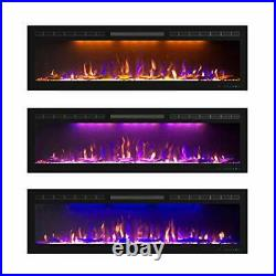 60 inch Fireplace Recessed, Insert and Wall Mounted Slim Electric 60 Inches