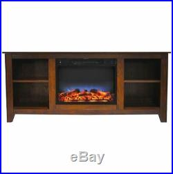 63 In. Electric Fireplace and Stand in Walnut with Color LED Insert
