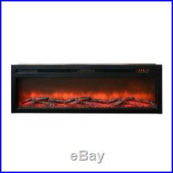 63 In. W 5000 BTU Electric Fireplace Insert Heater Fire Place Realistic Flame
