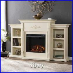 70 Off-White Wood Electric Fireplace Heater Insert Media Entertainment TV Stand