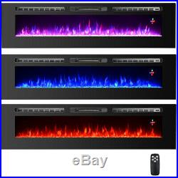 70 Wall Mounted/Insert Electric Fireplace Heater Wide Multi-Color Flame Remote