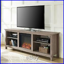 70-inch TV Stand Media Space Heater Electric Fireplace Insert Driftwood Shelves