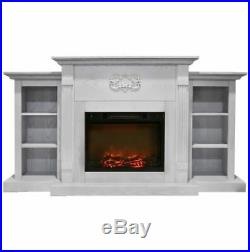 72 In. Electric Fireplace in White with Bookshelves and Log Insert