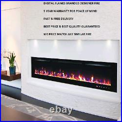 72 Inch Led'digital Flames' Modern Black Insert Wall Mounted Electric Fire 2021
