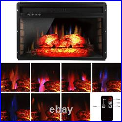 7 Colorful Embedded Fireplace Electric Insert Heater Log Flame Remote Home Decor