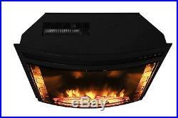 AKDY 28 Black Electric Firebox Fireplace Heater Insert Curve Glass Panel