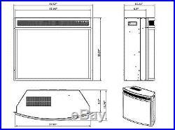 AKDY 28 Black Electric Firebox Fireplace Heater Insert Curve Glass Panel. New