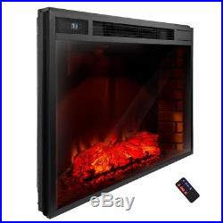 AKDY 33-In Black Remote Control Electric Tempered Glass Fireplace Insert Heater
