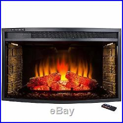 AKDY 33-Inch Black Remote Control Electric Curved Glass Fireplace Insert Heater