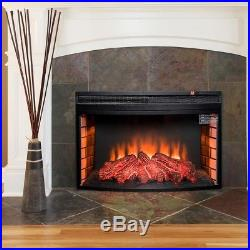 AKDY Freestanding Fireplace Insert Heater Black Tempered Glass Remote Control