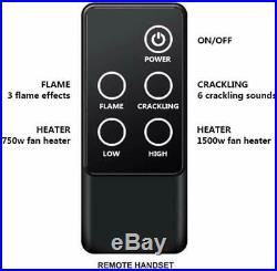 A 23 Inches Western Electric Fireplace Insert, 750/1500W, Remote Control, Black