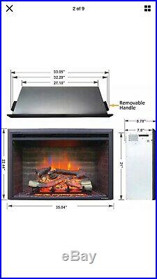 A 33 Inches Western Electric Fireplace Insert, 750/1500W, Remote Control, Black