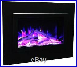 Amantii 26 Electric Fireplace Insert with 4 Side Trim Kit and Canopy Lighting