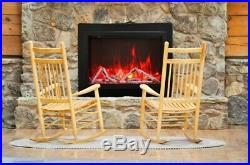 Amantii 30 Electric Fireplace Insert with 4 Side Trim Kit and Canopy Lighting
