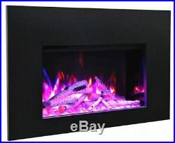 Amantii 33 Electric Fireplace Insert with 3 Side Trim Kit and Canopy Lighting