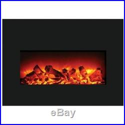 Amantii Large Insert Electric Fireplace with Black Glass Surround