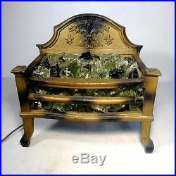 Antique Cast Iron Electric GLASS COAL Fireplace insert Victorian Very Nice