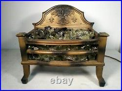 Antique Victorian Electric Cast Iron Fire Place Grate insert wood coal basket
