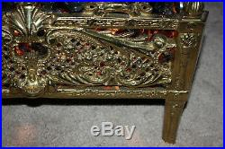 Antique brass / metal Electric GLASS COAL Fireplace insert Mid Century Modern