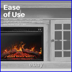 Black 23 1400W Embedded Fireplace Electric Insert Heater Indoor Energy Saving