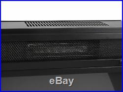 Black 28'' Embeded Insert Fireplace Heater Fan Adjust Log Flame Glass Timer Set