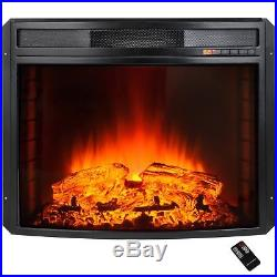 Black Electric Firebox Fireplace Heater Insert Curve Glass Panel Remote Standing