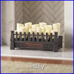 Brindle Flame 20 In Candle Electric Fireplace Insert Infrared Heater Indoor NEW