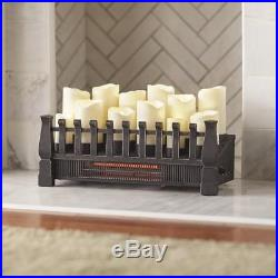 Brindle Flame 20 In Candle Electric Fireplace Insert Infrared Heater NEW T1055