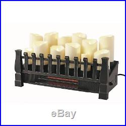 Brindle Flame 20 in. Candle Electric Fireplace Insert With Infrared Heater Decor