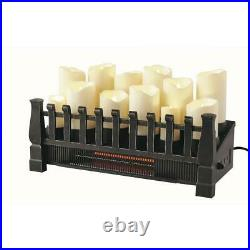 Brindle Flame 20 in. Candle Electric Fireplace Insert with Infrared Heater in
