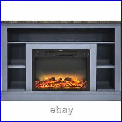 Cambridge 47 In. Electric Fireplace with Enhanced Log Insert and Slate Blue M