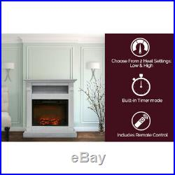 Cambridge CAM3437-1WHT Sienna 34 In. Electric Fireplace with 1500W Log Insert and
