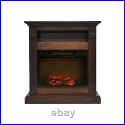 Cambridge Sienna 34 In. Electric Fireplace with 1500W Log Insert and Walnut Mantel