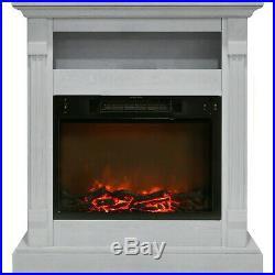 Cambridge Sienna 34 In. Electric Fireplace with 1500W Log Insert and White Mantel