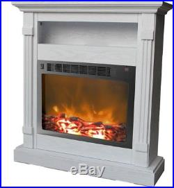 Cambridge Sienna 37 in. White Electronic Fireplace Mantel with Insert