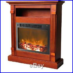 Cambridge Sienna Fireplace Mantel with Electronic Fireplace Insert, Cherry