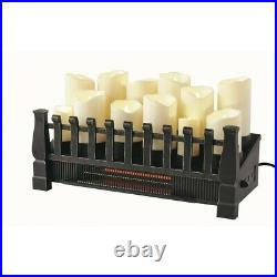 Candle Electric Fireplace Insert 20 in. Brindle Flame Infrared Heater with Remote