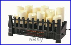 Candle Electric Fireplace Insert Brindle Flame 20 in. Infrared Heater Zone Heat