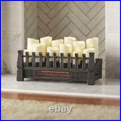 Candle Electric Fireplace Insert with Infrared Heater in Black Brindle Flame 20