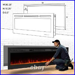 Charavector 100 Inches Electric Fireplace Recessed Insert Fireplaces Wall Mounte