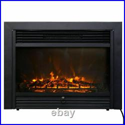 Christmas 28.5 Fireplace Electric Embedded Insert Heater Glass Log Flame Remote
