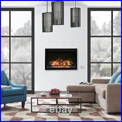 ClassicFlame 36 Inch 240V Traditional Built In Electric Fireplace Insert, Black