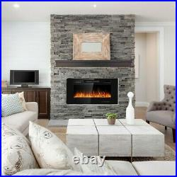Contemporary Electric Fireplace Wall Mounted Heater Multicolor Flame Remote 36