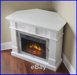Corner Fireplace Heater Insert Electric TV Stand White Mantel Media Console 45